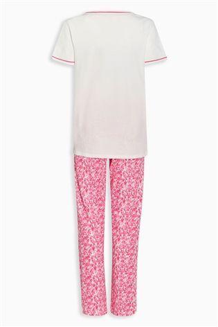 Buy Pink Heart Print Jersey Pyjamas from the Next UK online shop