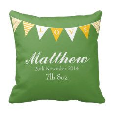 Baby Birth Announcement Green Yellow Bunting Pillow #PERSONALIZED #PILLOW #BABY #KEEPSAKE #BUNTING