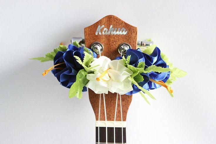 ribbon lei for ukulele (royal blue) / ukulele accessories/ ukulele decor / mandolin /hawaiian lei /satin ribbon / monstera / hibiscus