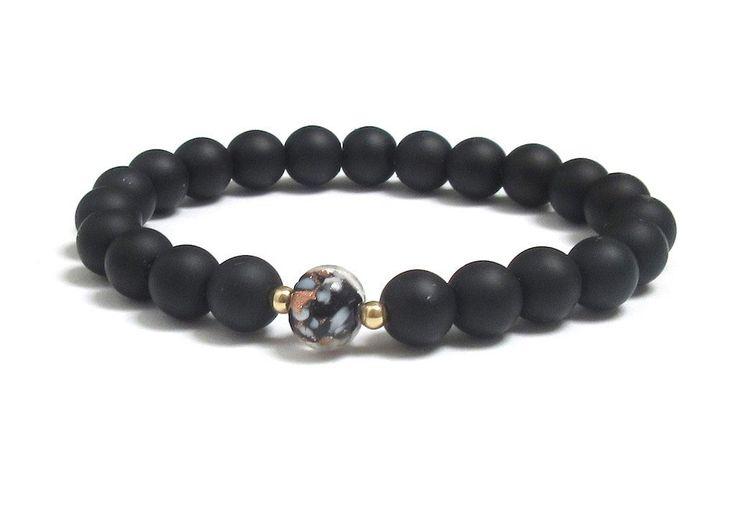 Black Murano Glass and Matte Black Onyx Gemstone Mala Bracelet