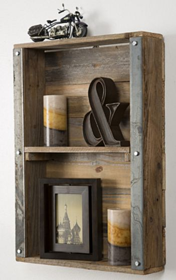 This industrial reclaimed wood wall shelf is the perfect accent to a dining…
