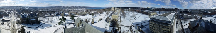 Spectacular Cornell University 360 winter panorama captured by Andrew Parmet from the top of McGraw Tower.