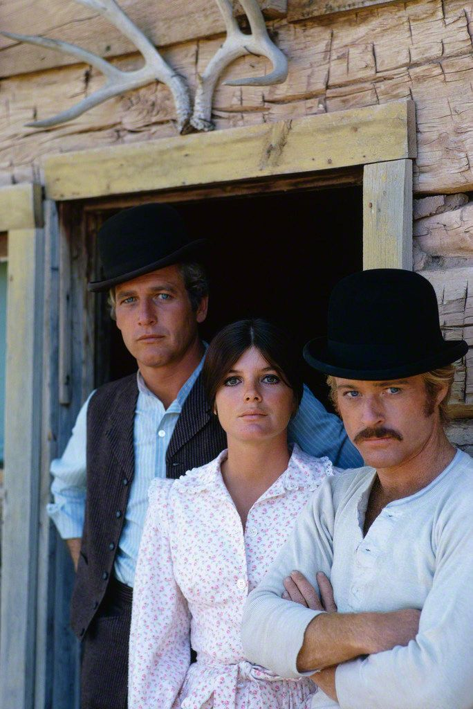 Douglas Kirkland - Paul Newman, Katherine Ross and Robert Redford on the set of Butch Cassidy and the Sundance Kid, 1969