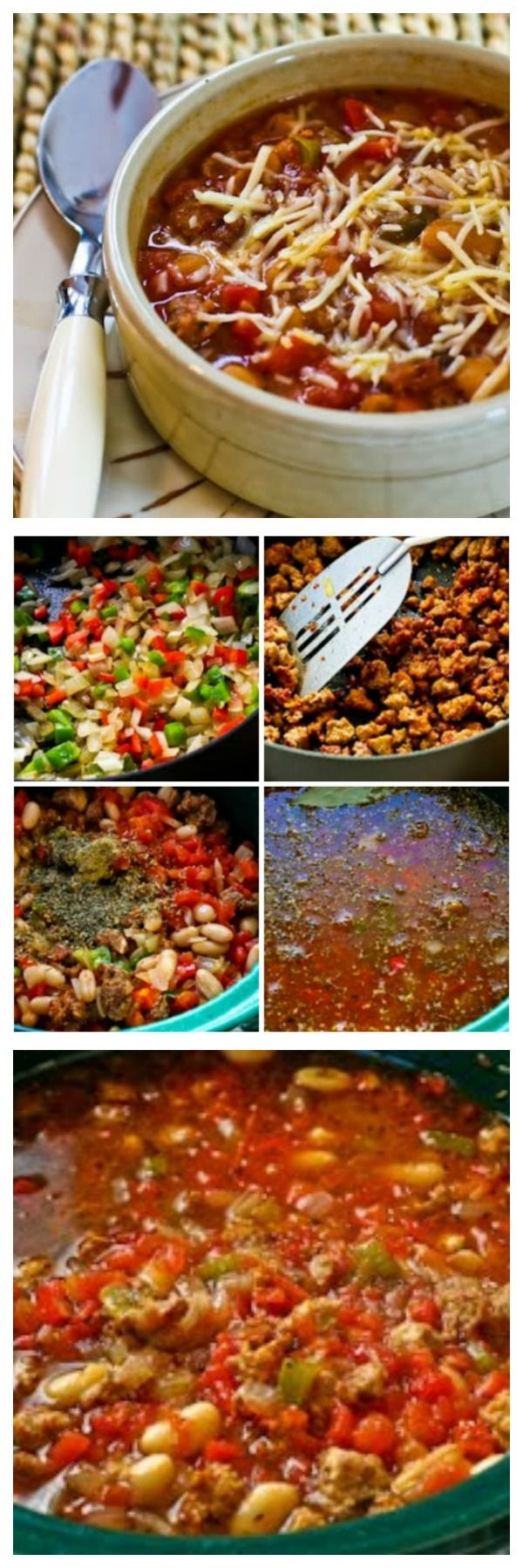 This CrockPot recipe for Sausage, Peppers, and Cannellini Bean Stew with Parmesan is one of my all-time favorite recipes for the slow cooker.  This is seriously delicious, and it freezes well.  [found on KalynsKitchen.com]