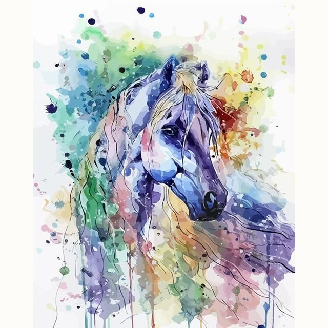 Abstract Horse Animal Easy Diy Paint By Numbers Kits In 2020