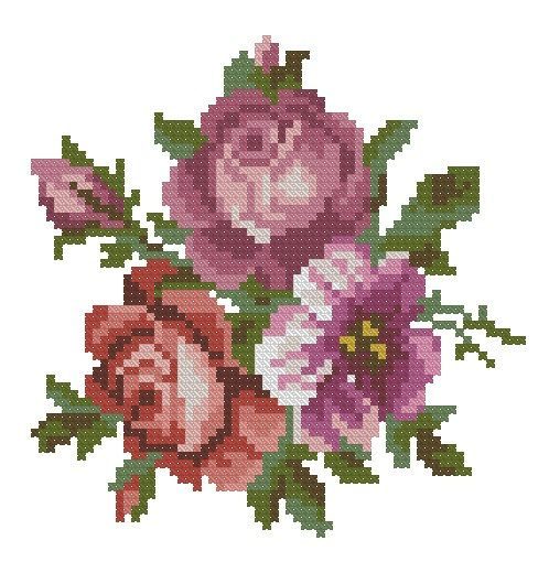 Pink roses antique cross stitch pattern