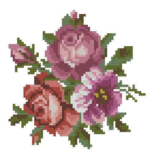 Pink roses antique cross stitch pattern