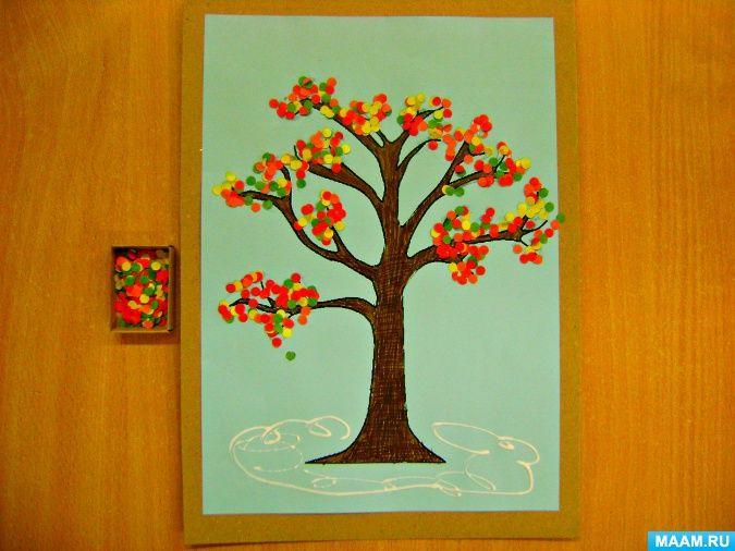 Художественное творчество с малышами «Осенние деревья». Воспитателям детских садов, школьным учителям и педагогам - Маам.ру
