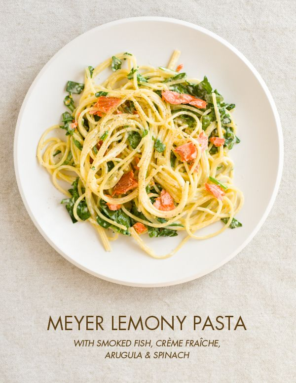 Smoked Salmon & Meyer Lemon Pasta: Salmon Pasta, Smoke Fish, Pasta Recipes, Lemon Zest, Lemon Pasta, Meyer Lemony, Smoke Salmon, Creme Fraiche, Lemony Pasta