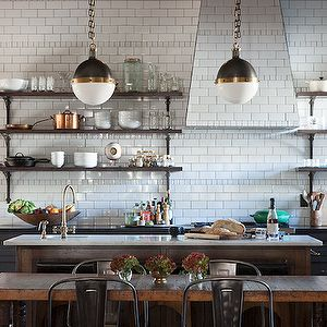 I love absolutely everything about this kitchen, the tiles, the grout between the tiles, the shelves, the pendant lights are totally awesome and as for that little copper pot..... Re-pinned by www.gilroyinteriors.com Breathing life & colour into your home!