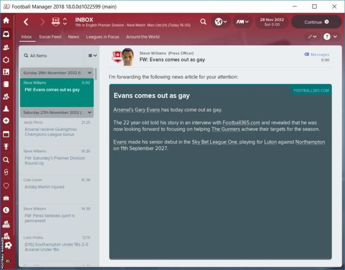 Cult game Football Manager 2018 is adding support for gay players