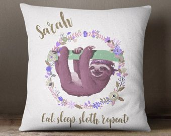 Personalised Sloth Cushion, Sloth Bedroom Cushion, Sloth Pillow, Animal Throw Pillow, White Sloth Cushion, Fashion Cushions, Funky Cushions,