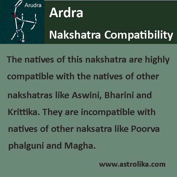 Ardra #nakshatra is most compatible to #Ashwini, #Bharani