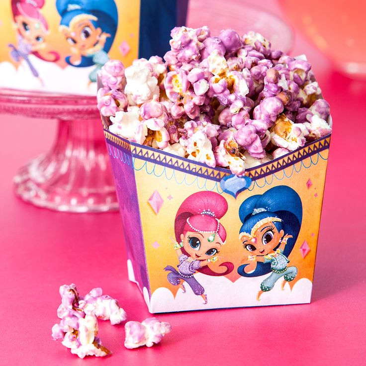 We all know Shimmer and Shine have a knack for making popcorn. Make your very own purple popcorn using candy melts, which you can find at your local grocery store. For the finishing touch, serve them up in adorable free printable popcorn holders at your preschooler's Shimmer and Shine birthday party!