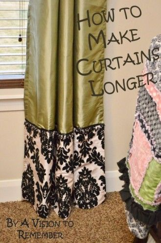 How to Make Curtains Longer: if I find more great curtains that are cheap but too darn short, I'll pair it with a gorg fabric!