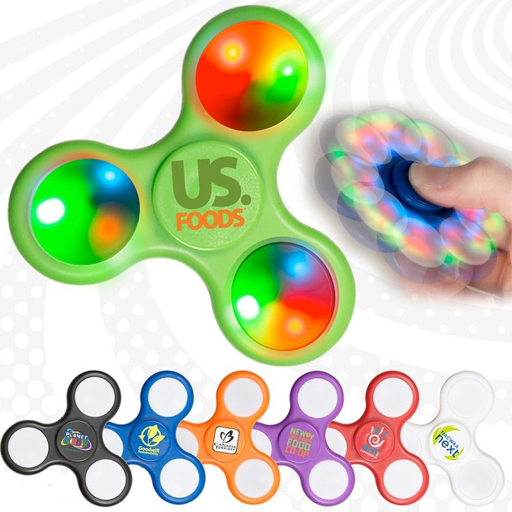 Light-up custom fidget spinners take the spinner craze to a whole new level  Features white panel with 3 light colors (Blue, Red, and Green) and multiple light functions at the press of a button  Executive fidget toy and stress reliever- perfect promotional giveaway item  Made of sturdy ABS plastic with Carbon Steel bearings