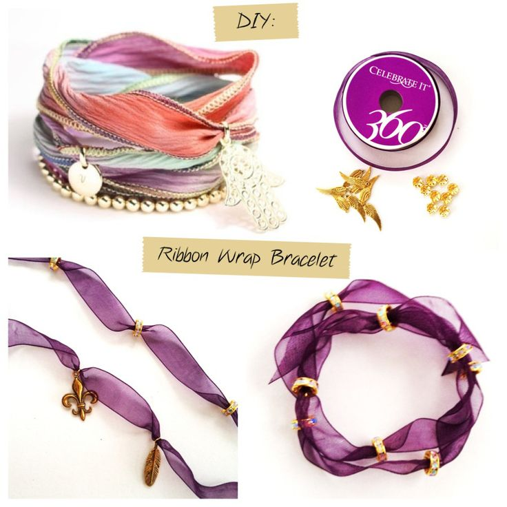 DIY: Ribbon Wrap Bracelet - Clear polish to keep ends of ribbon from fraying.