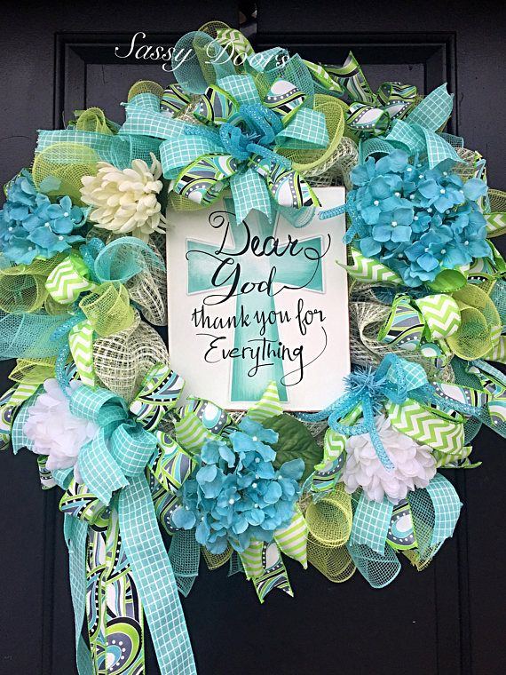 Deco Mesh Wreath-Everyday Wreath-Summer Wreath-Hydrangea