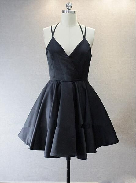 v neck homecoming dress,simple homecoming dresses,simple party dress,cute homecoming dress,homecoming dance dress,Spaghetti Straps homecoming dresses