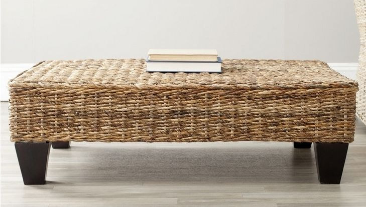 Country Beige Woven Natural Wicker Bench Footstool Ottoman