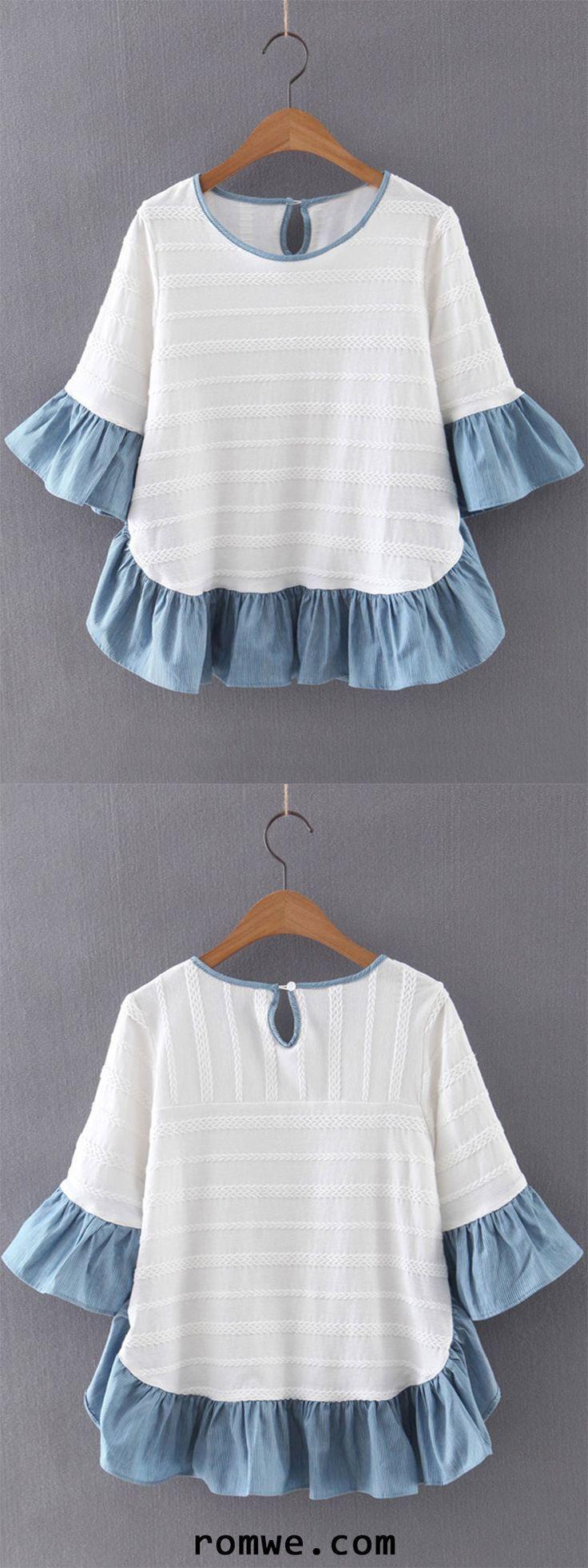 Blusa de jacquard tricotada com mangas de sino multicolorido e plissado –   – Blusen