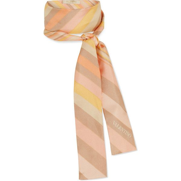 Valentino Printed silk-satin scarf (234 AUD) ❤ liked on Polyvore featuring accessories, scarves, valentino, orange, pink shawl, colorful scarves, pink scarves, chevron scarves and chevron print scarves