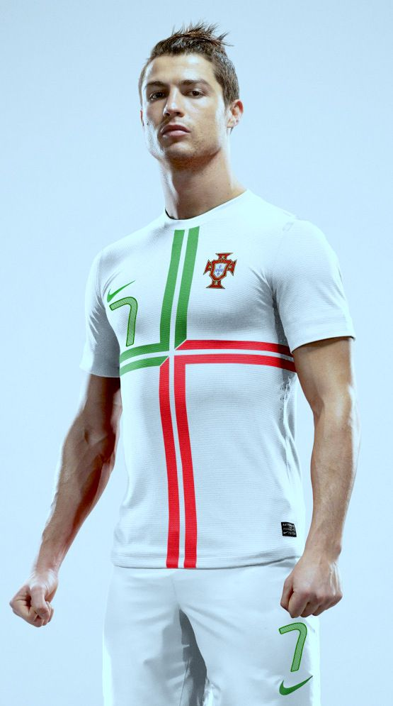 Cristiano Ronaldo wearing the Portugal National Team Uniform for Euro 2012. The team would make it to the Semi-Finals before succumbing in a Penalty Shootout against eventual champions, Spain.