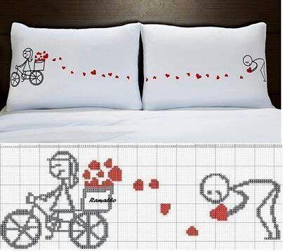 0 point de croix femme bicyclette semant des coeurs - cross stitch girl on ride and hearts