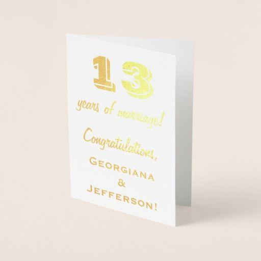 Gold Foil 13th Wedding Anniversary + Custom Names Foil Card
