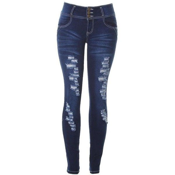 JVINI Women's Distressed Ripped Skinny Super Stretch Denim Jean... ($16) ❤ liked on Polyvore featuring jeans, distressed jeggings, torn skinny jeans, destructed skinny jeans, ripped jeggings and denim skinny jeans