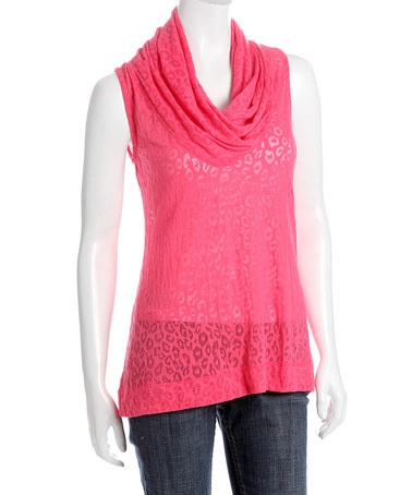 Take a look at this Coral Leopard Tissue Cowl Neck Top by Kial on #zulily today!
