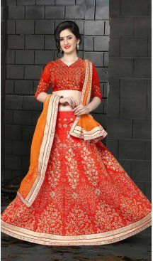 Red Color Silk Embroidery Circular Designer Lehenga | FH586786362