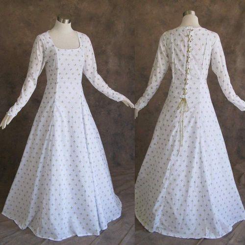 42 Best Renaissance Wedding Dress Images On Pinterest: Medieval Renaissance Gown White Gold Dress Costume LOTR