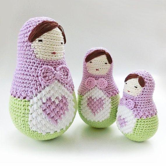 Patrón de muñeca amigurumi, ganchillo patrones de muñecas de anidación. ELA la muñeca del Matryoshka, ganchillo patrón de muñeca. Muñeca del matryoshka, muñeca del Babushka.