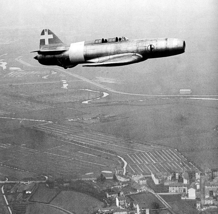 C.C2 Italian experimental jet in flight (Date and location unknown)