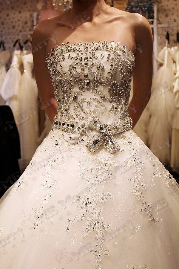bling wedding dresses wedding dresses tube top big train