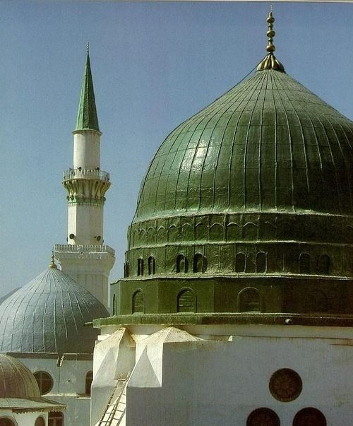 Beautiful Green Dome of Prophet Mosque