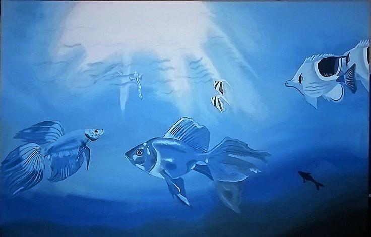Acrylic painting  The fishes go to the sun by WwWeiserArt on Etsy