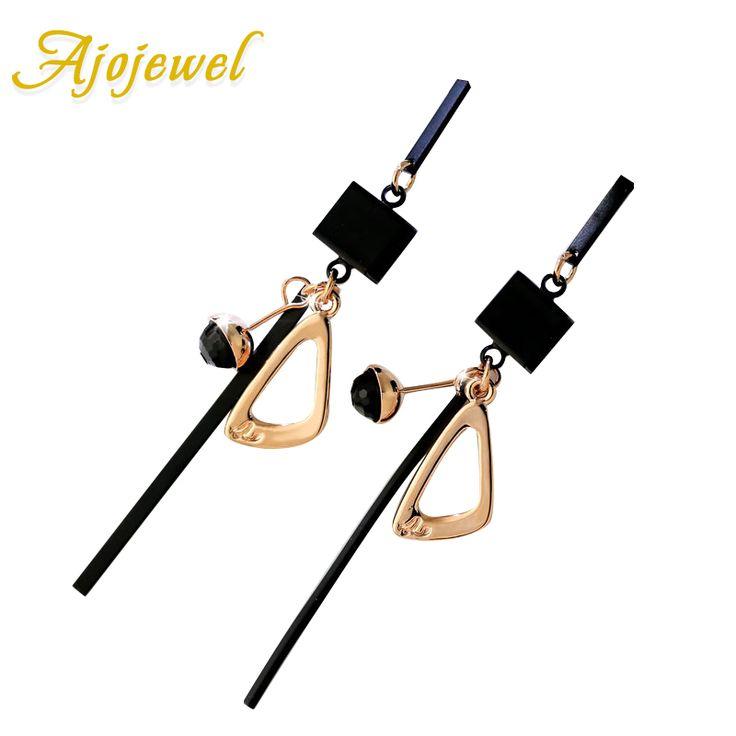 Ajojewel venta caliente negro pendientes de gota para las mujeres geométrica chapado en oro pendientes largos