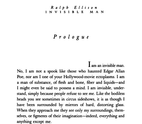 Invisible Man by Ralph Ellison.