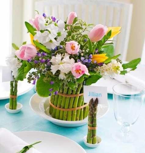 Floral arrangement with asparagus