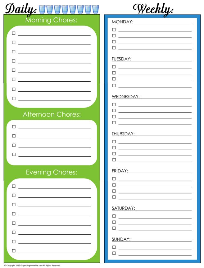 31 Days of Home Management Binder Printables: Day #4 Daily and Weekly Chore Schedule | Organizing Homelife   I'm thinking this is the one! This way we can mark off the once a week chores without repeating!