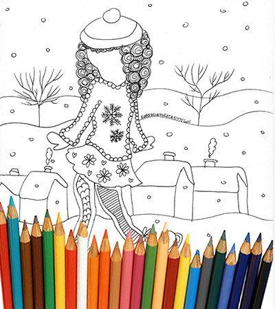 Inverno bambina che pattina pagina da colorare bambini ragazzi adulti natale neve ghiaccio pattinaggio sport download pagina da scaricare