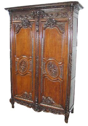 18th C French Normandy Carved Oak Antique Wedding
