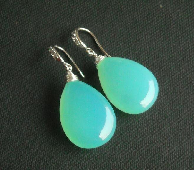 Timeless soft sea foam green Artisan handmade sterling silver Chalcedony #earrings