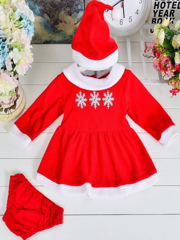 Snow Long Sleeve Dress + Briefs + Hat Christmas Suit #jewelry, #women, #men, #hats, #watches, #belts, #fashion
