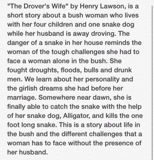 Henry lawson drovers wife essay help