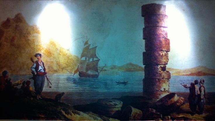 Ireon in the 19th century, wallpaper in Kouros Restaurant in Vathi