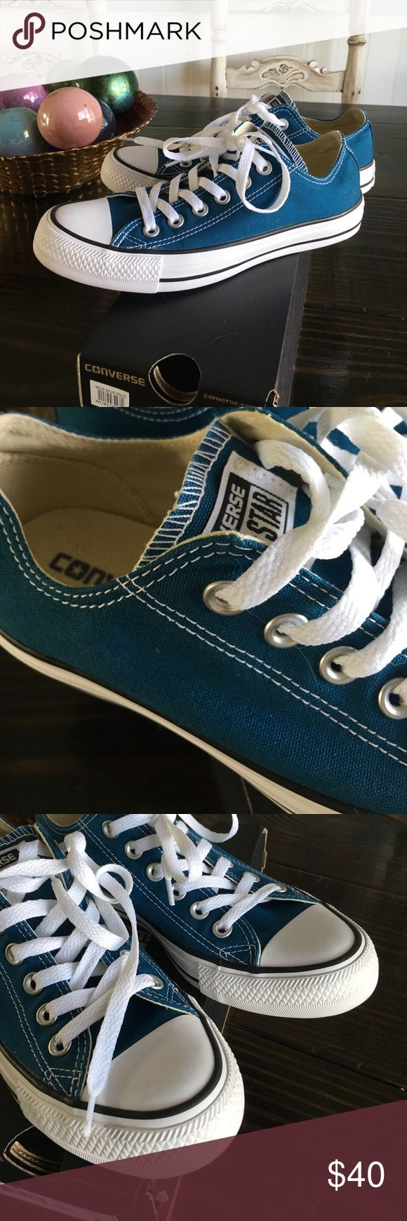 Teal Converse Excellent Condition Size 7 teal converse. In excellent condition. I am a size 8 and these fit me perfectly. Shipped without box Converse Shoes Sneakers