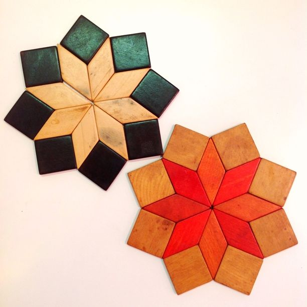 Pair of #MidCentury Star Shaped #StainedWood #Trivets. Please click on link below for details and pricing. | Rocket Century  - St. Louis, MO